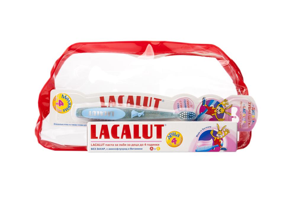 Комплект детска паста + четка до 4 год.
